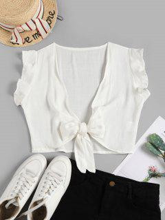 Tie Front Ruffled Sleeve Cropped Blouse - White L
