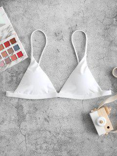ZAFUL Thin Strap Plunge Bikini Top - White S