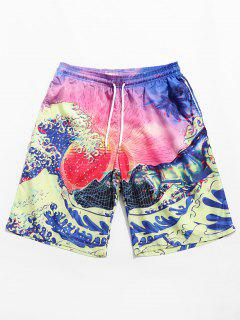 Coconut Tree Painting Printed Board Shorts - Pink M