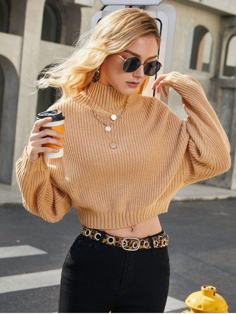 affordable ZAFUL Drop Shoulder Mock Neck Plain Sweater - TAN S Mobile