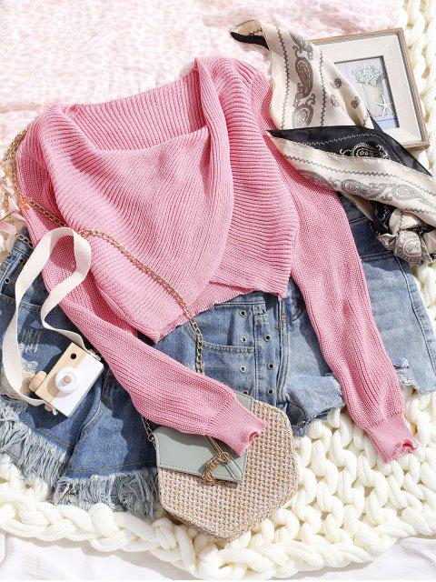 ladies V Neck Cropped Twist Front Sweater - LIPSTICK PINK S Mobile