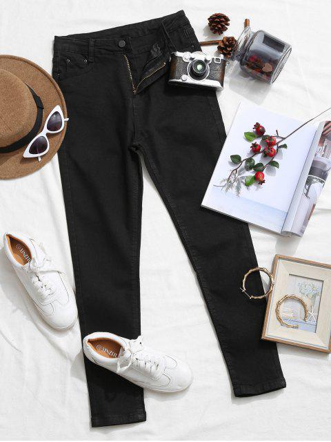 Jean Elastique Moulant Zippé avec Poche - Noir S Mobile