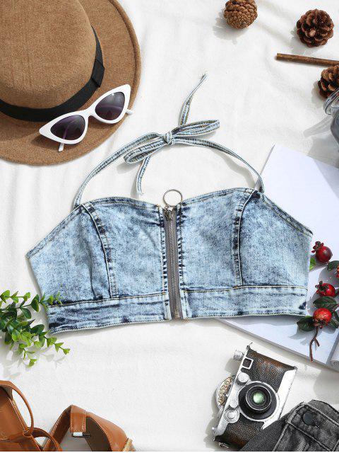 womens Pull Ring Zip Denim Halter Crop Top - DENIM BLUE M Mobile