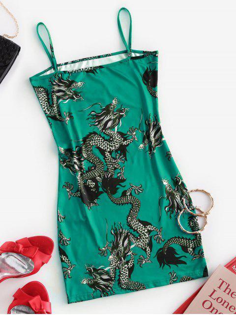Mini Vestido de Tirantes Finos con Estampado de Dragón - Verde de Mar Ligero S Mobile