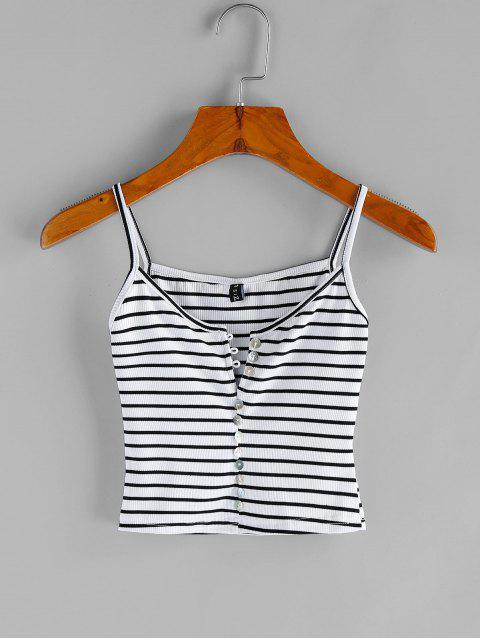 lady Striped Buttoned Crop Cami Top - MULTI S Mobile