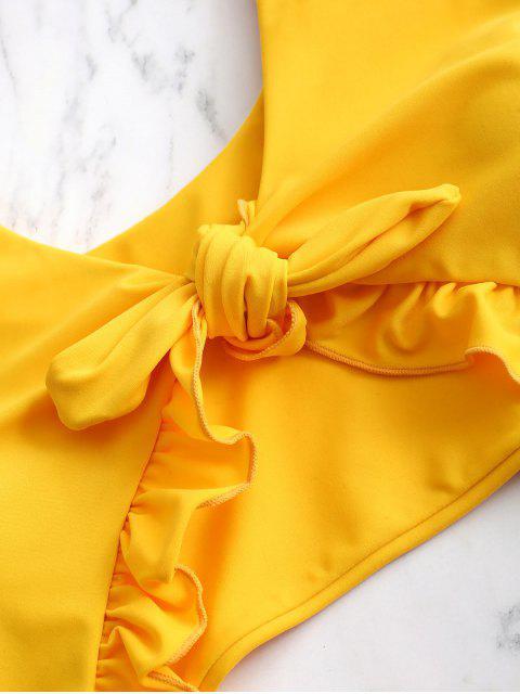 ZAFUL結荷葉邊摳圖連體泳裝 - 黃色 L Mobile