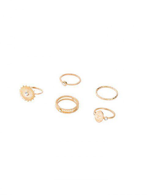 Conjunto de Anillos de Forma Ovalada de Sol de Diamantes de Imitación - Oro  Mobile