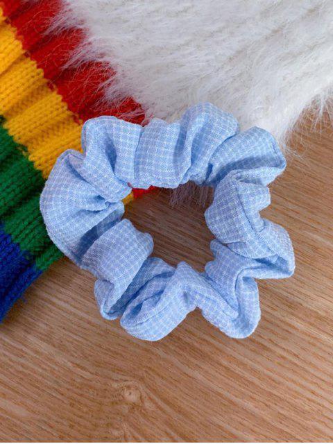Клетчатый принт Эластичная Резинка для волос - Светло-синий  Mobile