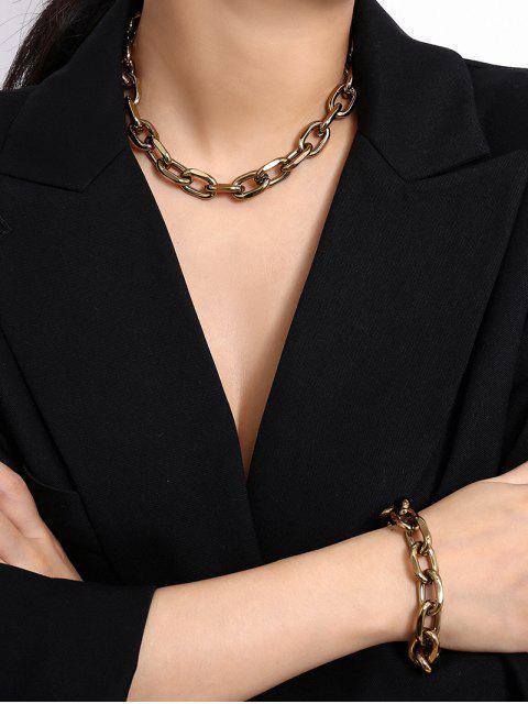 Juego de Collar de Cadenas Simples - Oro  Mobile