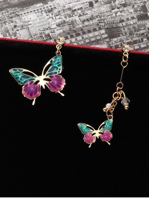 Бабочка Асимметричные Серьги - Павлиний синий  Mobile