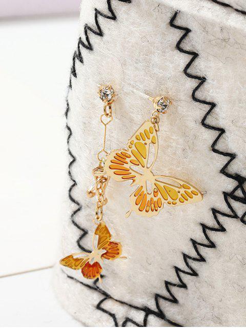 Бабочка Асимметричные Серьги - Оранжевый  Mobile