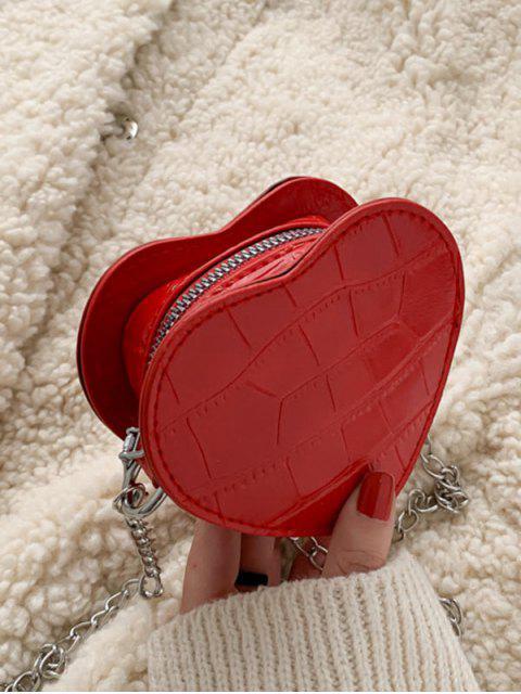 Mini Bandolera de Cadenas en Forma de Corazón - Rojo Lava  Mobile