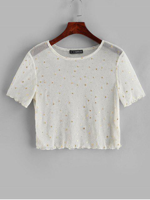 latest See Thru Shiny Stars Cropped Tee - WARM WHITE L Mobile