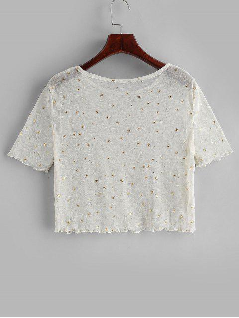 chic See Thru Shiny Stars Cropped Tee - WARM WHITE XL Mobile