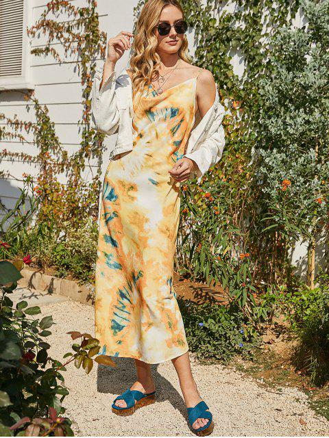 womens Printed Cowl Front Maxi Cami Dress - MULTI S Mobile