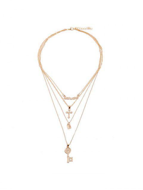 Collar de Llave de Forma Cruzada con Forma de Cruz - Oro  Mobile