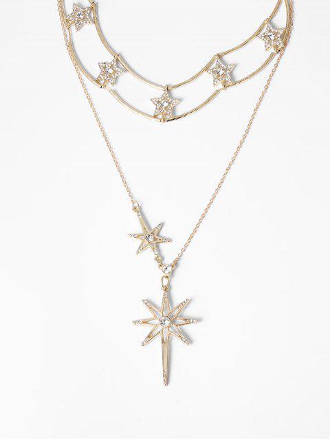Collar de Cadena de La Estrella de Rhinestone - Oro  Mobile