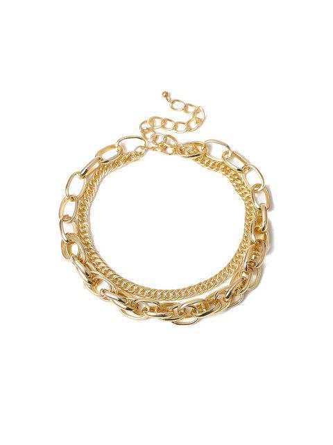 Простое Двухслойное Цепное Ожерелье - Золотой  Mobile