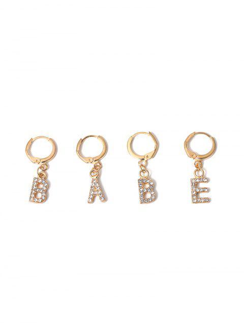 Conjunto de Aretes de Clip de Diamantes de Imitación con Letras - Oro  Mobile