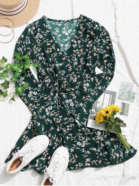 Mini Vestido Floral de Manga Campana - Verde Oscuro S Mobile