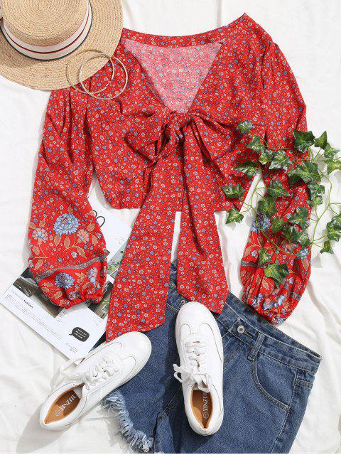 sale Long Sleeve Ditsy Floral Tie Front Blouse - RED M Mobile