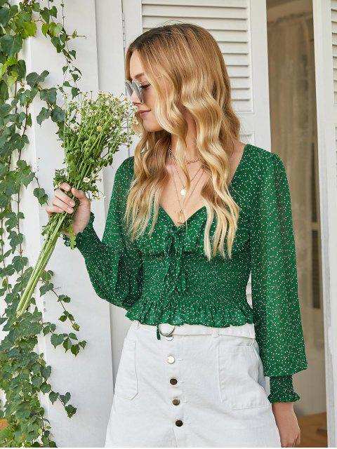 women Smocked Waist Ditsy Floral Lace Up Blouse - GREEN M Mobile