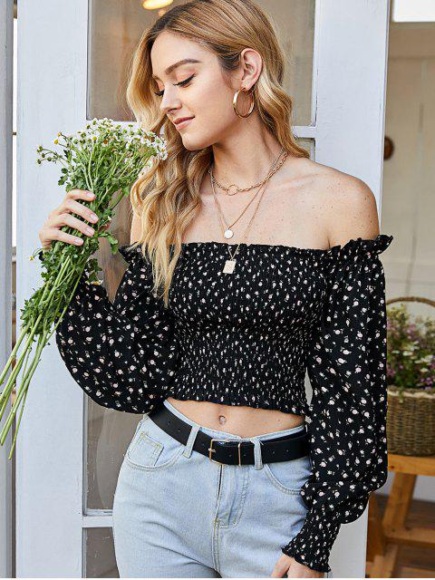 hot Ditsy Floral Smocked Milkmaid Blouse - BLACK M Mobile