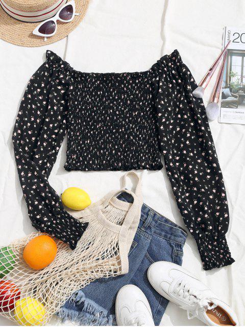 shop Ditsy Floral Smocked Milkmaid Blouse - BLACK L Mobile