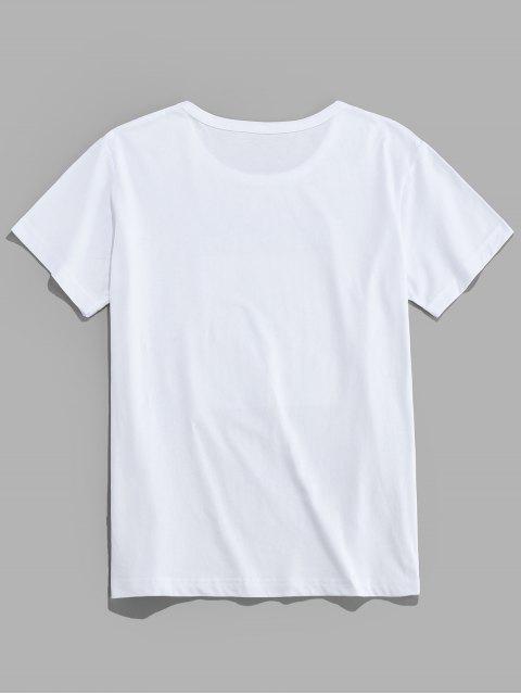 Camiseta con Gráfica de Carácter de Letras - Blanco M Mobile