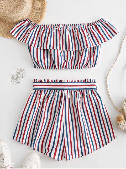 ZAFUL Conjunto de Dos Piezas de Rayas de Fuera de Hombro con Cinturón - Multicolor-A XL Mobile