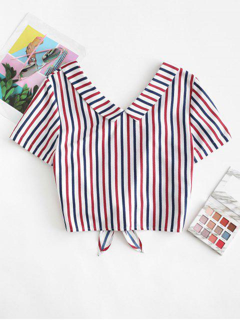 outfit ZAFUL Nautical Striped Knot Crop Top - MULTI-A XL Mobile