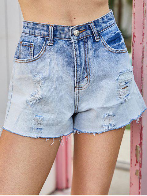 Shorts de Denim Desgastados con Botones - Azul Claro M Mobile