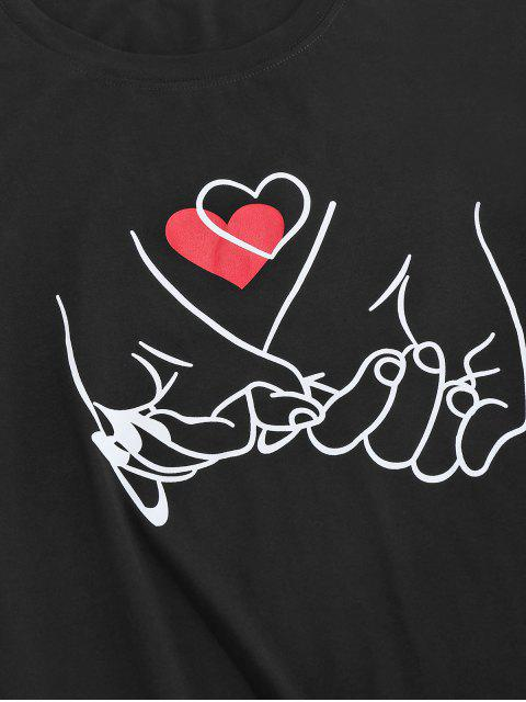 online ZAFUL Valentine's Day Heart Hand Gesture Print T-shirt - BLACK S Mobile
