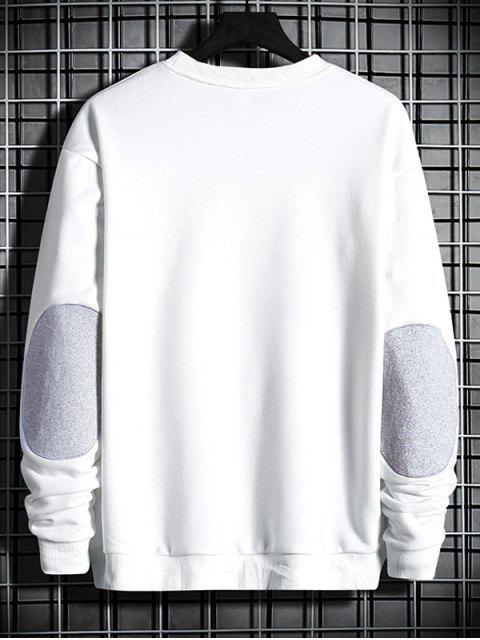 肘拼布貼花圓領運動衫 - 白色 XL Mobile