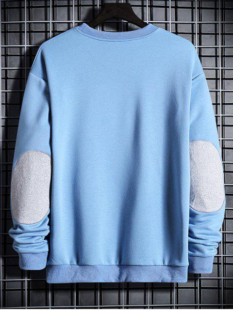 肘拼布貼花圓領運動衫 - 牛仔褲藍色 M Mobile