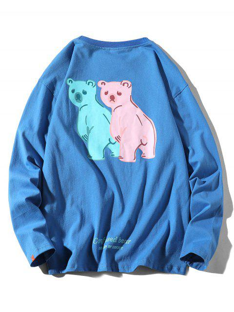 outfits Confused Bear Letter Printed Casual T-shirt - SILK BLUE 4XL Mobile