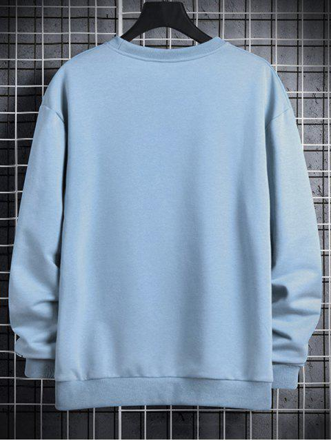Leuchtende Leben Buchstabe Druck Rundhals Sweatshirt - Jeans Blau XL Mobile