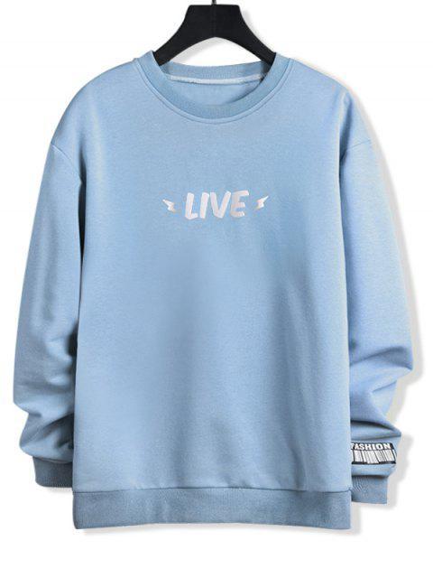 Leuchtende Leben Buchstabe Druck Rundhals Sweatshirt - Jeans Blau L Mobile