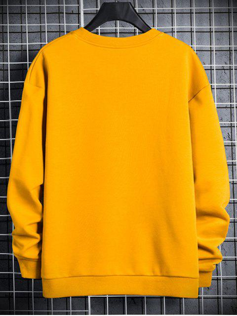 Leuchtende Leben Buchstabe Druck Rundhals Sweatshirt - Sonne Gelb XS Mobile