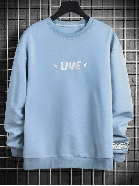 夜光直播信打印圓領運動衫 - 牛仔褲藍色 M Mobile