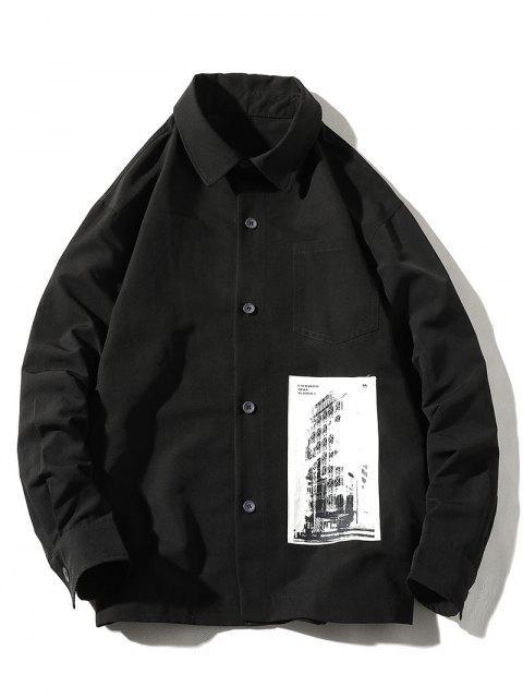 Camisa de Manga Larga de Parche de Algodon con Bolsillo - Negro M Mobile