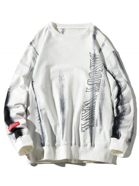 信水墨印刷貼花休閒運動衫 - 白色 M Mobile