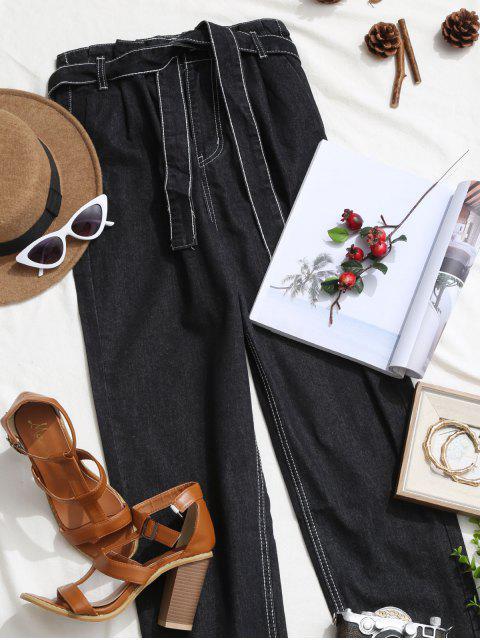 Pantalones Vaqueros Rectos de Cintuta Alta con Bolsillos con Cinturón - Negro L Mobile