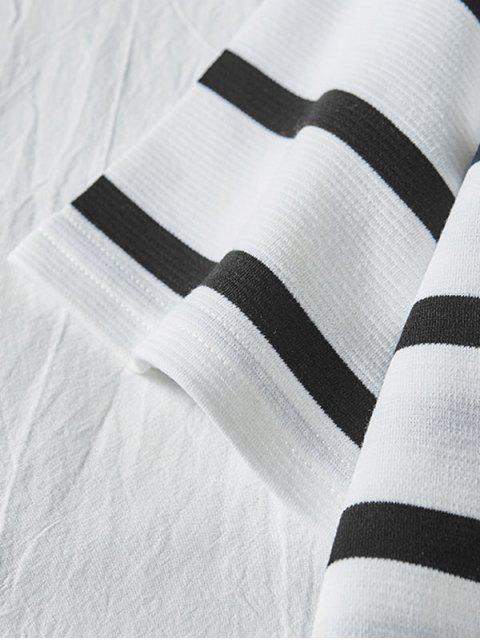 trendy Letter Colorblock Striped Short Sleeve T-shirt - WHITE XL Mobile