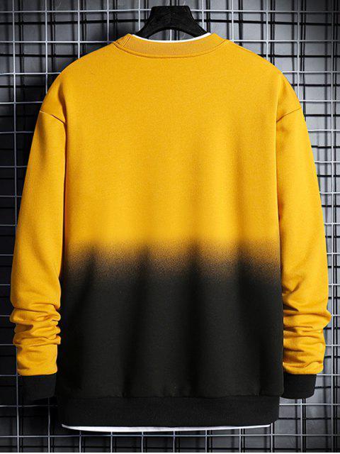 chic Letter Print Ombre Sweatshirt - SUN YELLOW XS Mobile