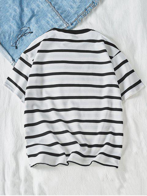 chic Letter Colorblock Striped Short Sleeve T-shirt - WHITE L Mobile