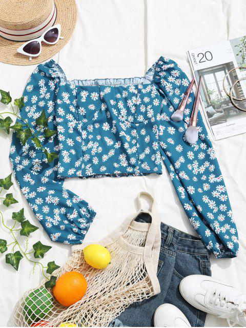 shop Ditsy Floral Smocked Back Milkmaid Blouse - BLUE ONE SIZE Mobile