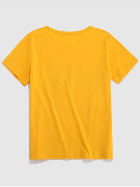 Camiseta de Manga Corta con Estampado de Paisaje de Letras - Amarillo Brillante M Mobile