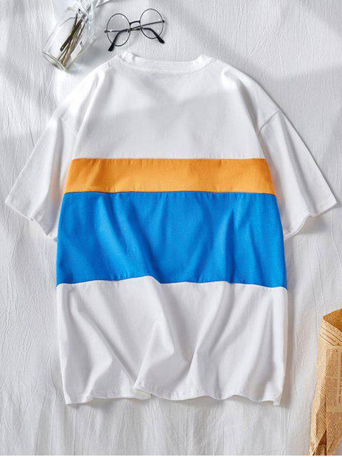 ladies Colorblock Panel Letter Print Short Sleeve T-shirt - WHITE M Mobile