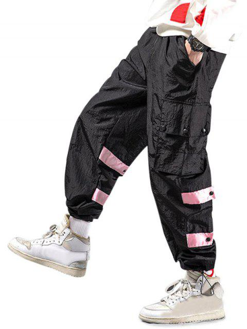 new Striped Flap Pockets Casual Cargo Pants - BLACK 2XL Mobile
